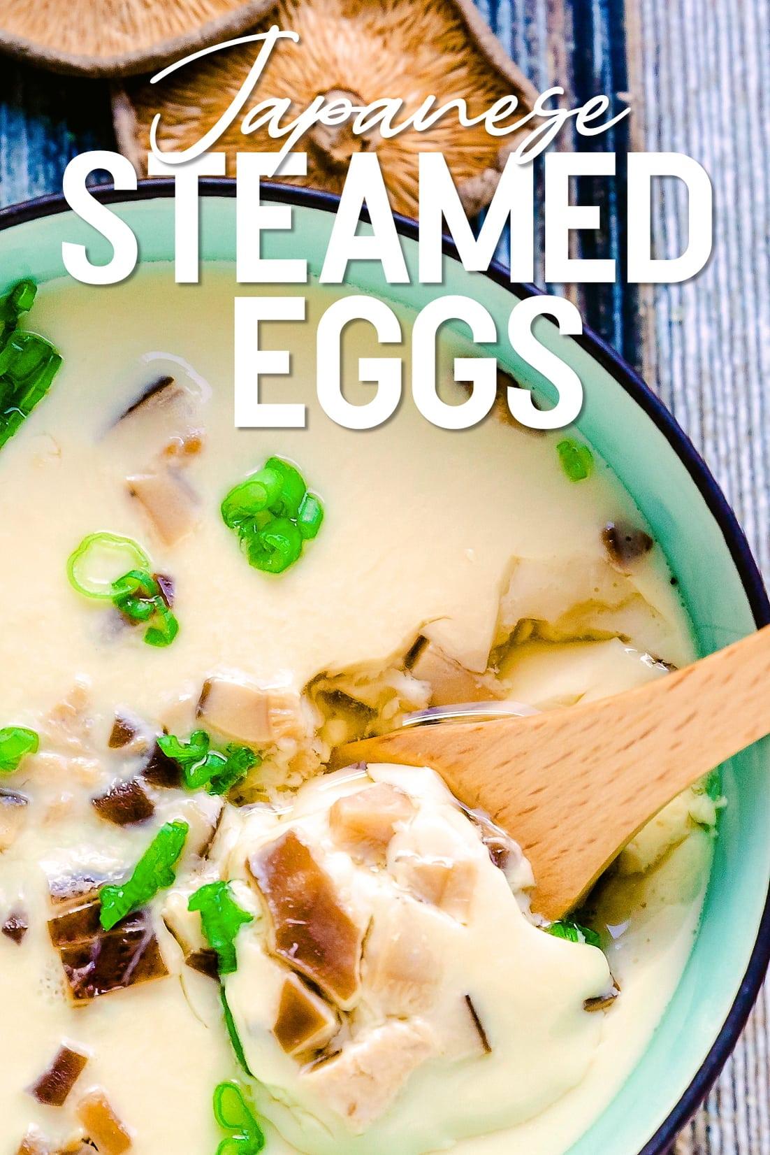 Shiitake Steamed Eggs close up