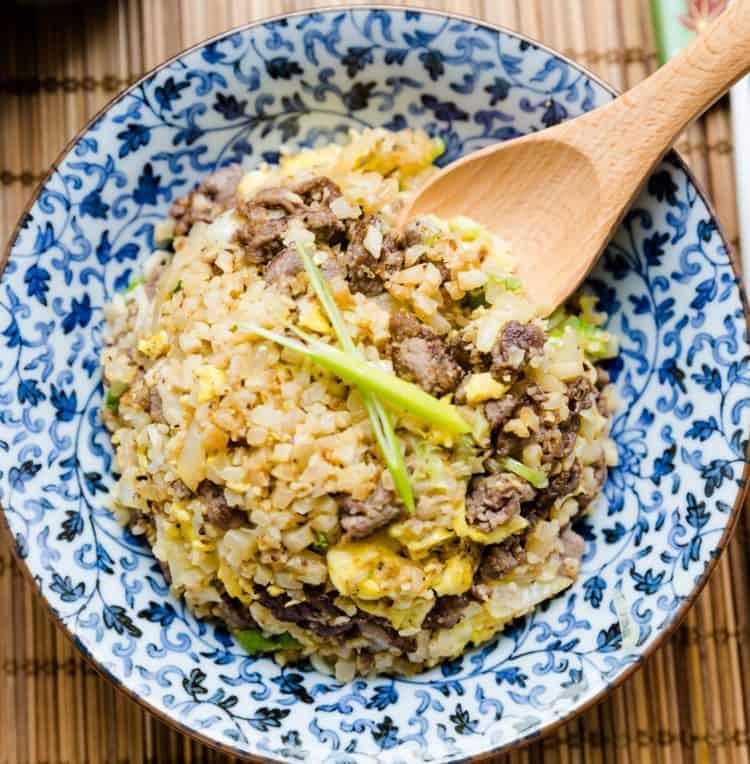 keto Japanese Garlic Beef Cauliflower Fried Rice - Chahan cover
