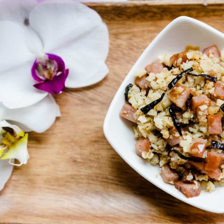 keto Hawaiian Garlic Spam Musubi in a Bowl cover