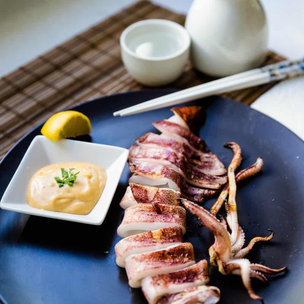 keto Japanese BBQ Calamari with Spicy Miso Mayo pic
