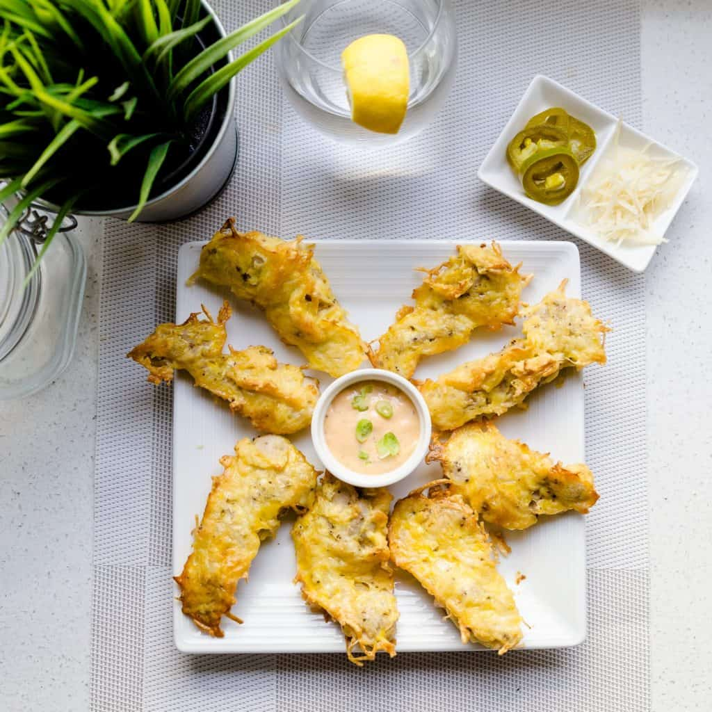 keto Parmesan Crusted Chicken Strips with Japanese Spicy Mayo pic