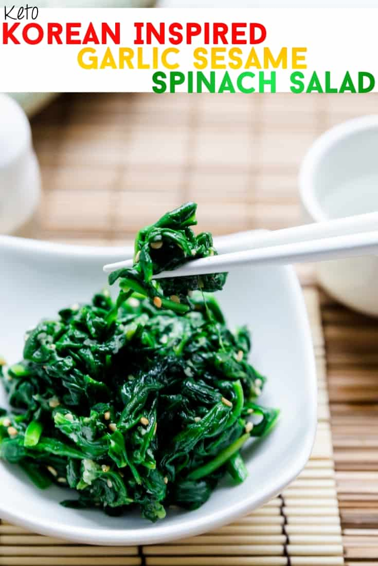 keto Korean Inspired Garlic Sesame Spinach Salad pin 2