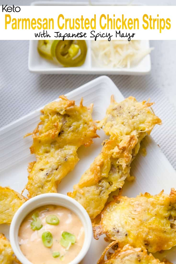 keto Parmesan Crusted Chicken Strips with Japanese Spicy Mayo pin 2