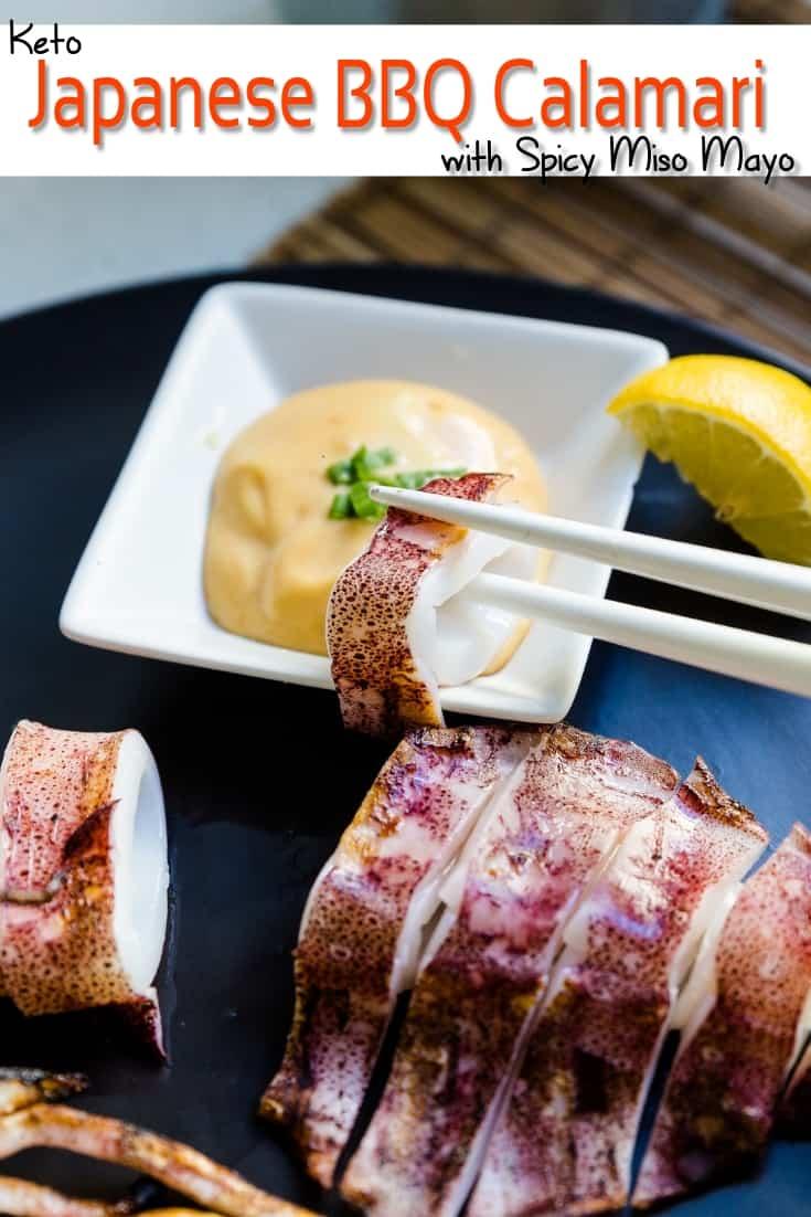 keto Japanese BBQ Calamari with Spicy Miso Mayo pin 2