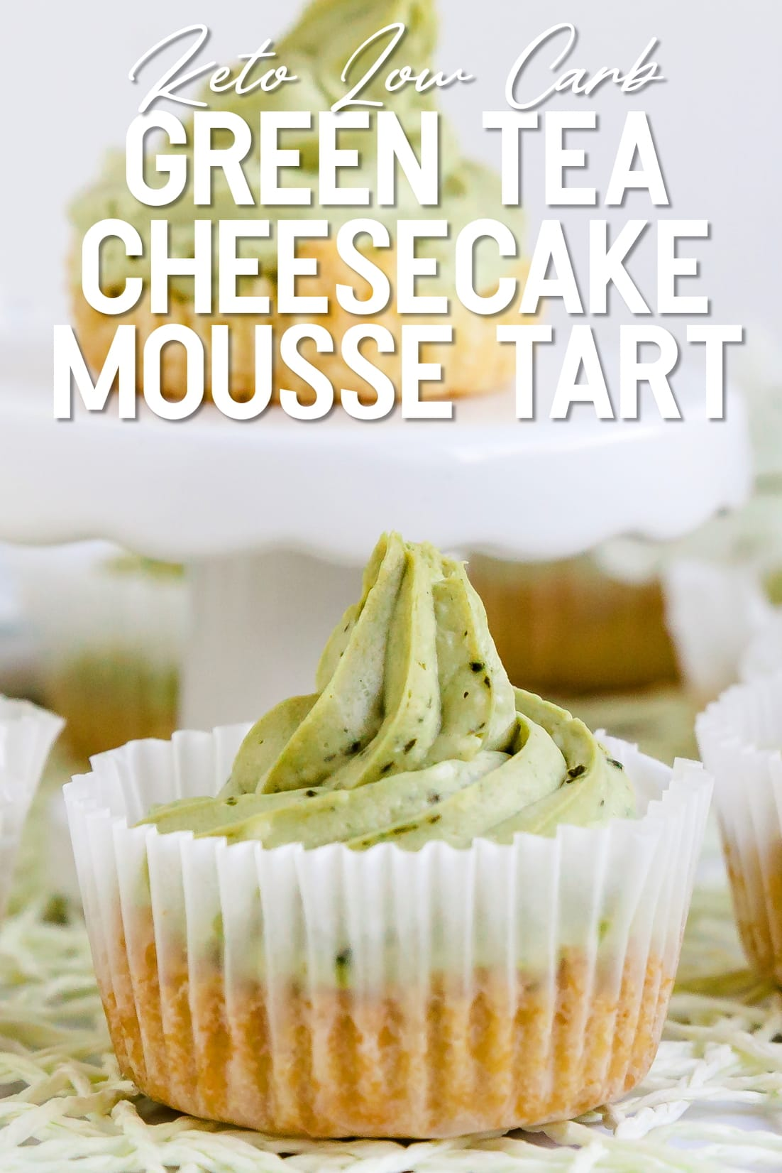 Green Tea Cheesecake Mousse Tart close up