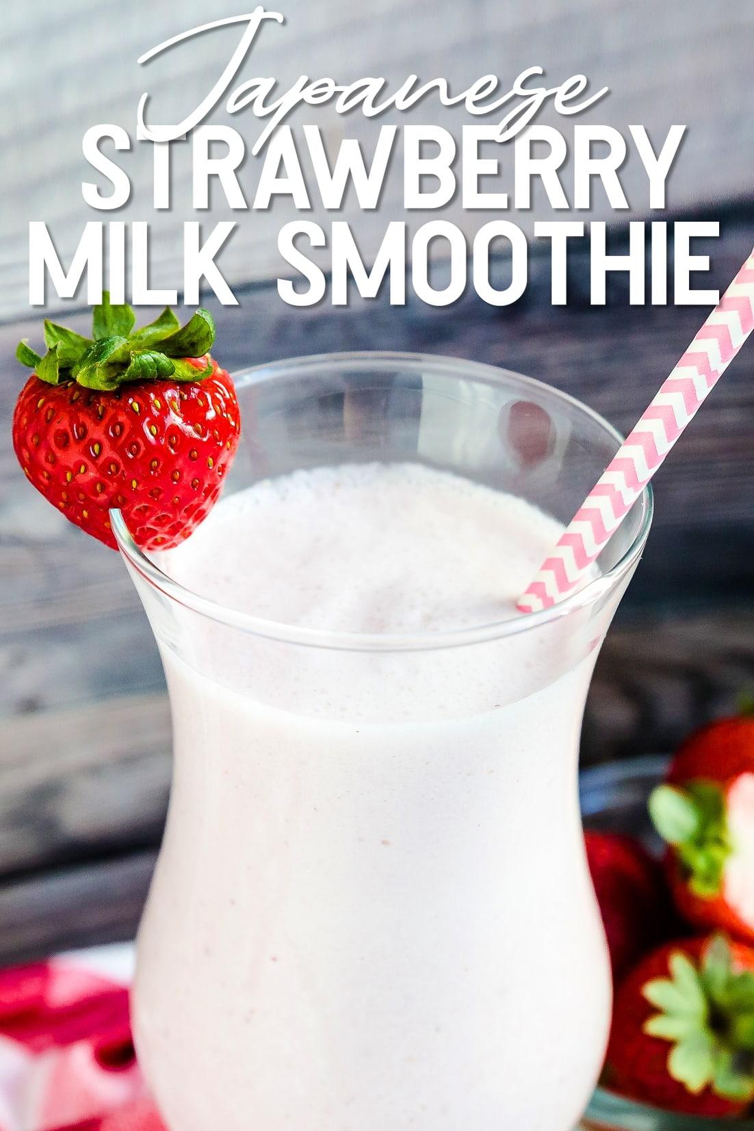 Japanese Style Strawberry Milk Smoothie close up