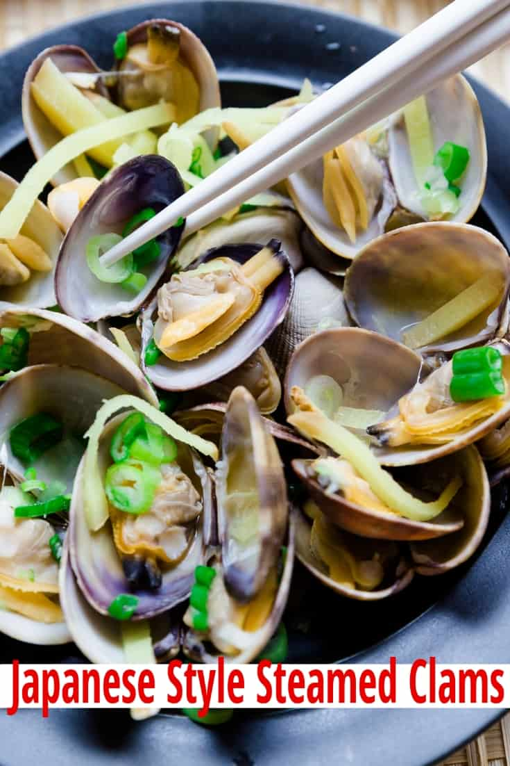 Low Carb Japanese Style Steamed Clams pin 1