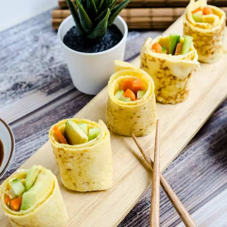Sushi Vegetable Egg Rolls Up LowCarbingAsian Cover