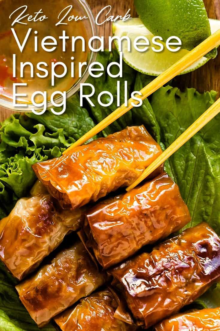 Vietnamese Inspired Bite Size Egg Rolls LowCarbingAsian Pin 1