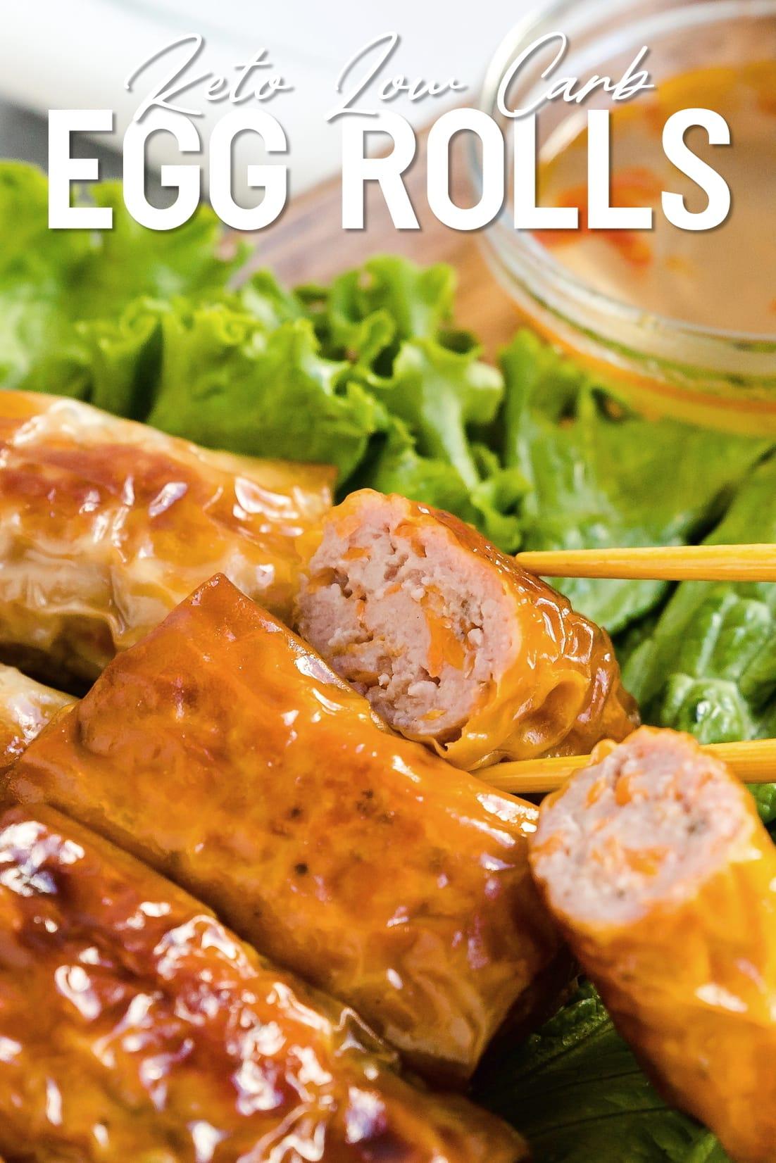 Vietnamese Egg Rolls wtih chopsticks