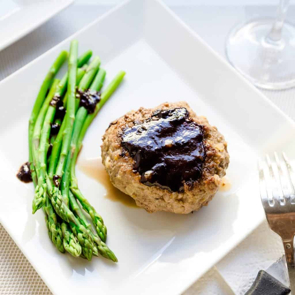 keto Japanese Style Hamburger Steak with Asparagus pic