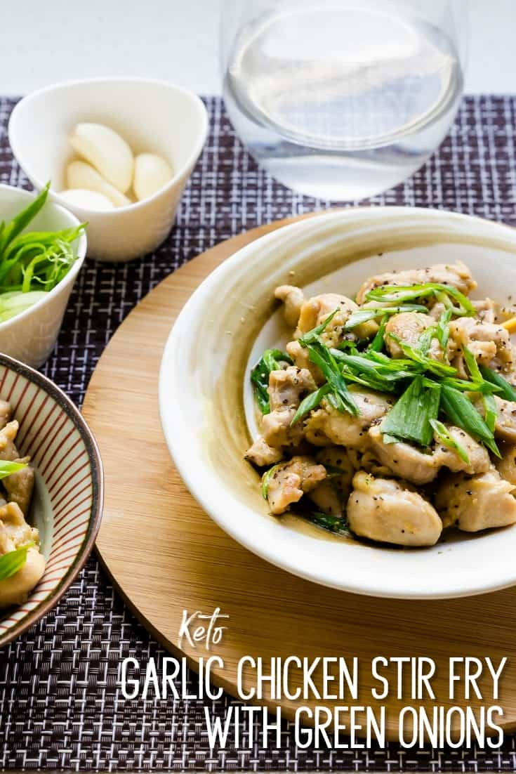 Garlic Chicken Stir Fry with Green Onions Pin 1