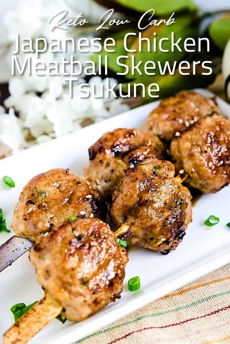 Japanese Chicken Meatball Skewers - Tsukune LowCarbingAsian Pin 1