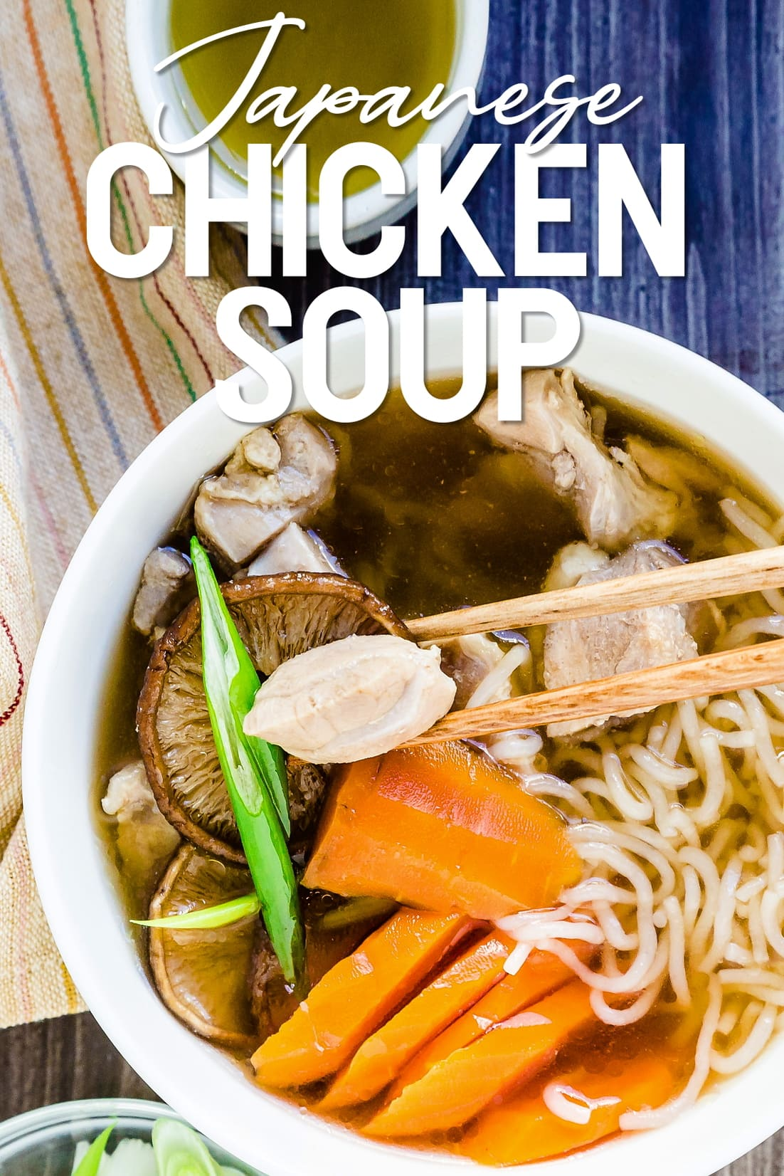 Japanese Chicken Soup ozoni with chopsticks