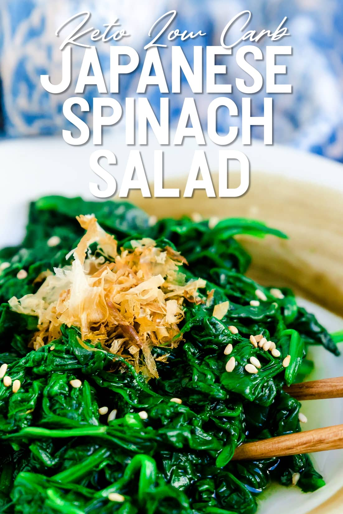 Japanese Spinach Salad with chopsticks