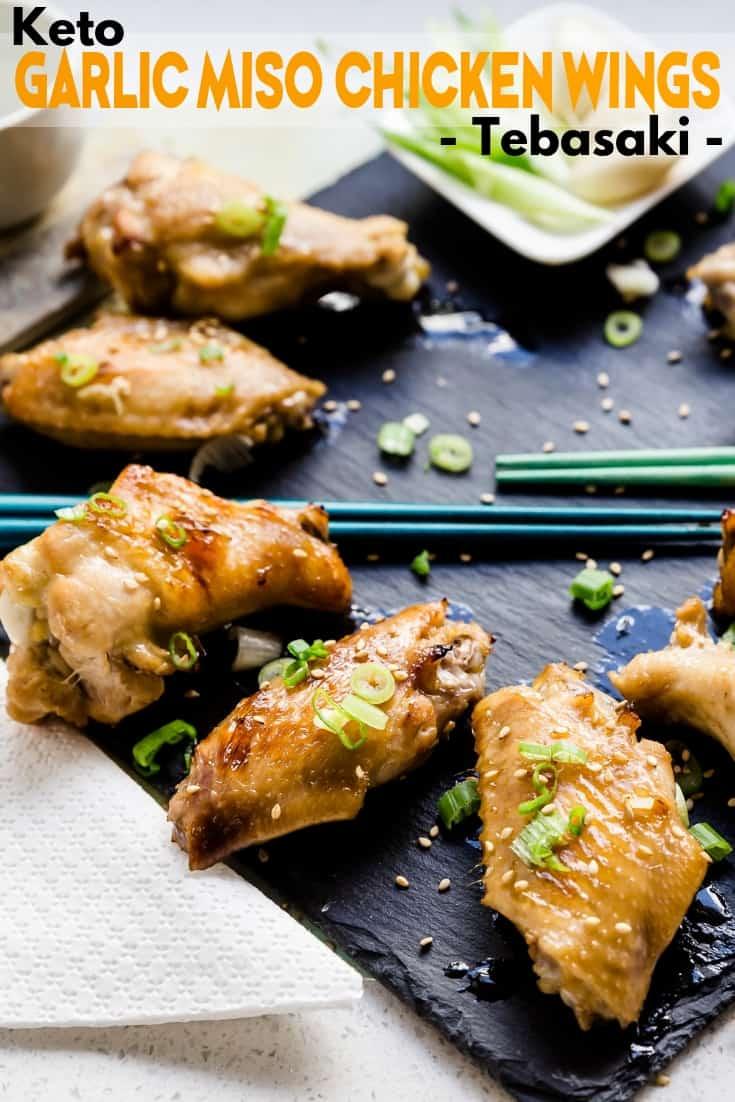 Keto Garlic Miso Chicken Wings Tebasaki LowCarbingAsian Pin 1