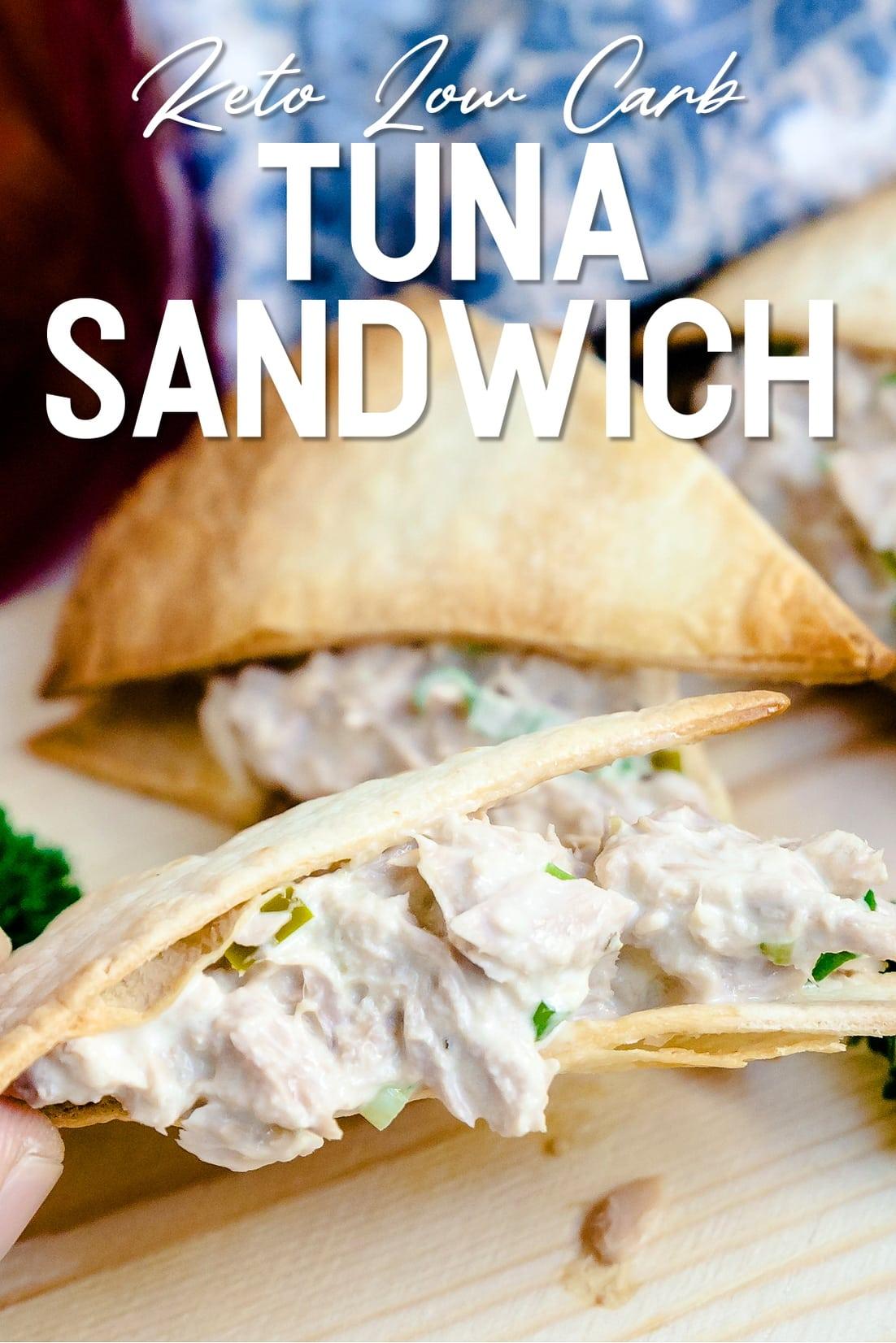 Keto Japanese Inspired Tuna Sandwich being held