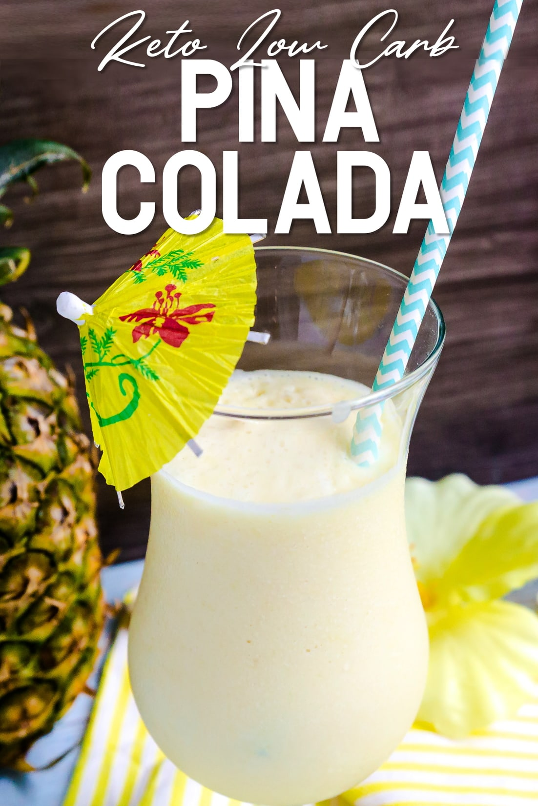 Keto Pina Colada with a straw