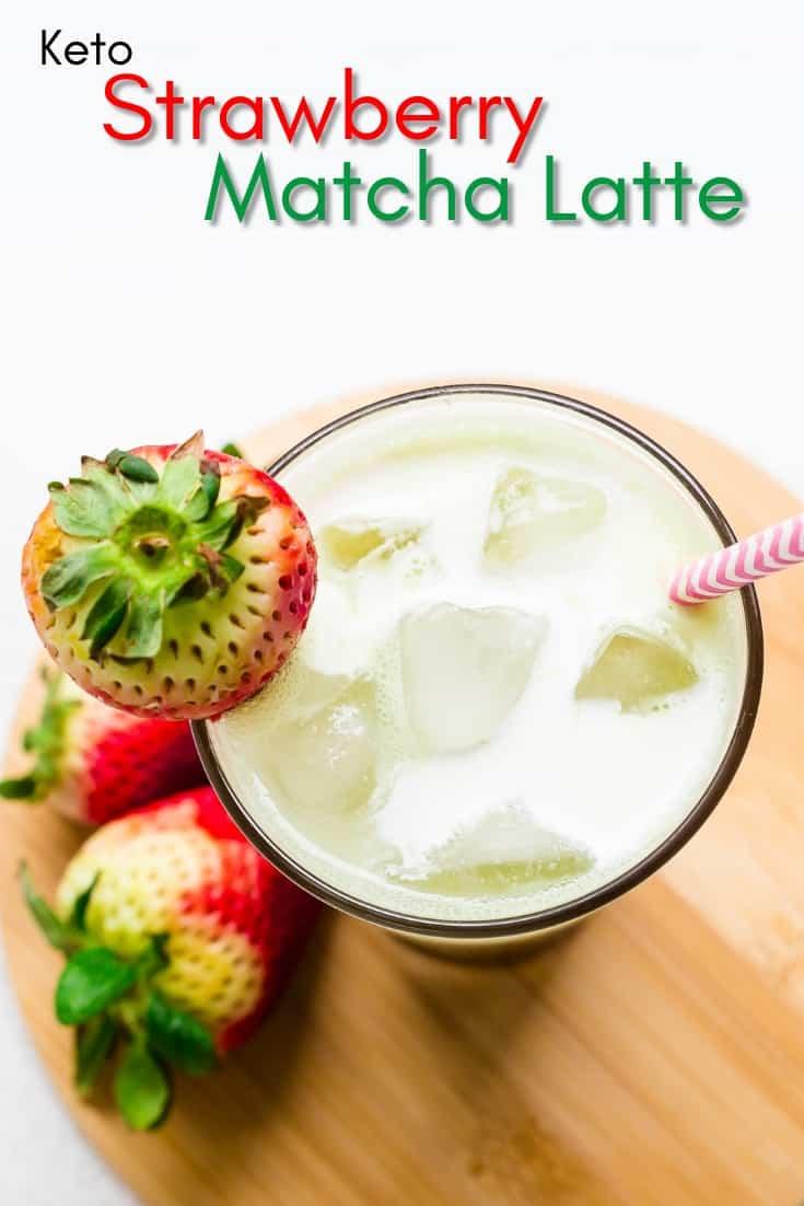 Keto Strawberry Matcha Latte Pin 1