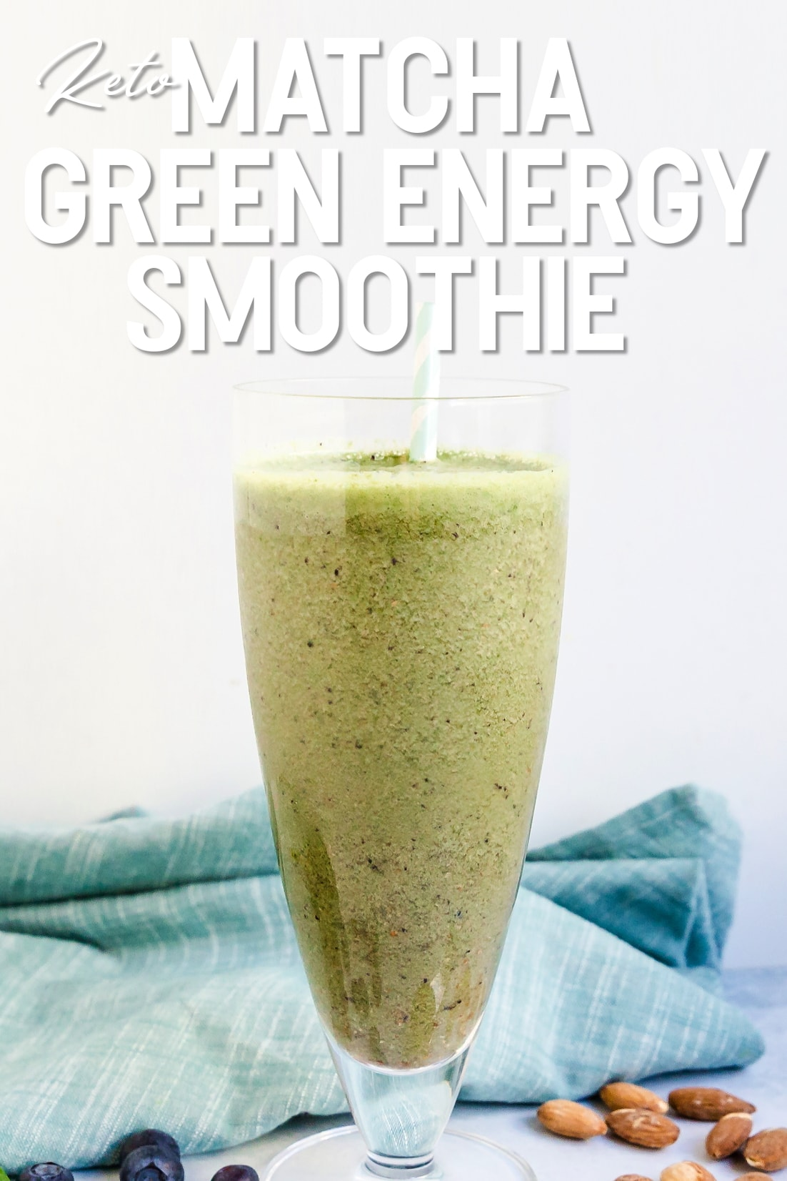 Matcha Green Energy Smoothie in a glass side view