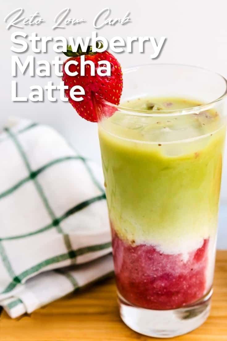 Keto Low Carb Strawberry Matcha Latte