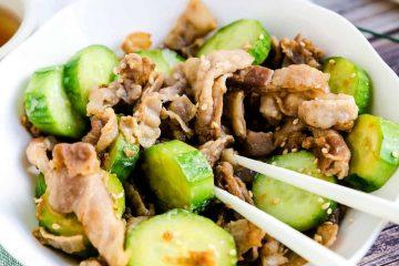 Japanese Cucumber Pork Belly Pickled Plum Salad