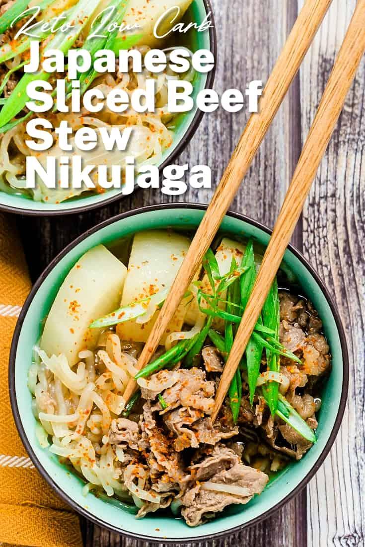 Keto Low Carb Japanese Sliced Beef Stew - Nikujaga