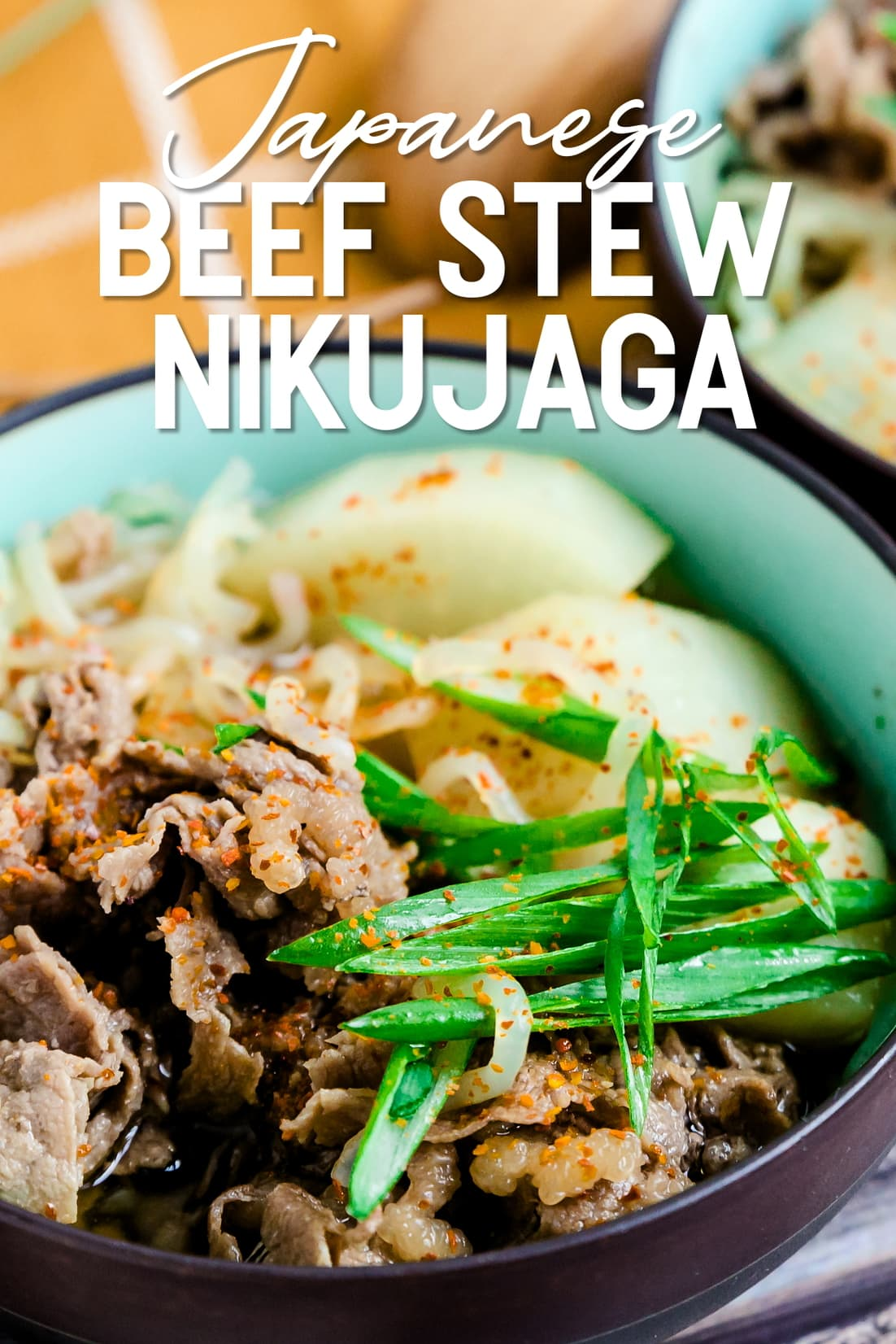 Keto Low Carb Japanese Sliced Beef Stew Nikujaga close up in a bowl