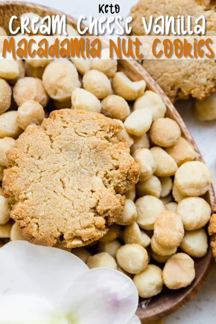 Keto Cream Cheese Vanilla Macadamia Nut Cookies Pin 2