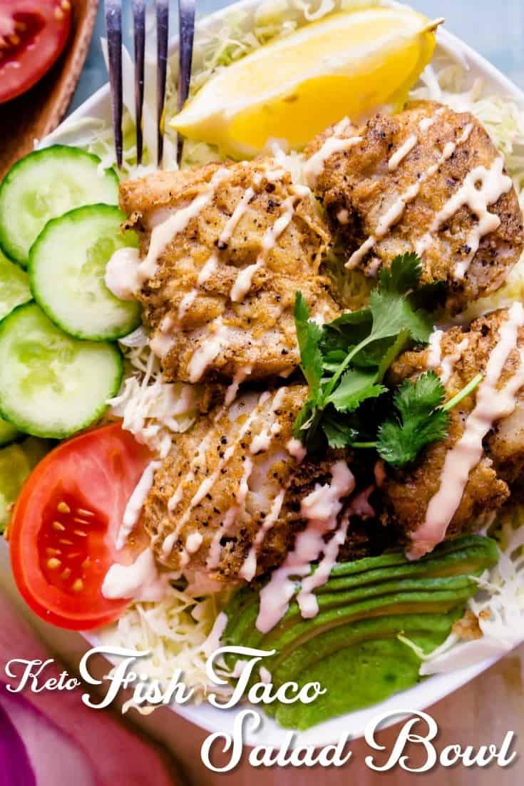 Keto Fish Taco Salad LowCarbingAsian Pin 2