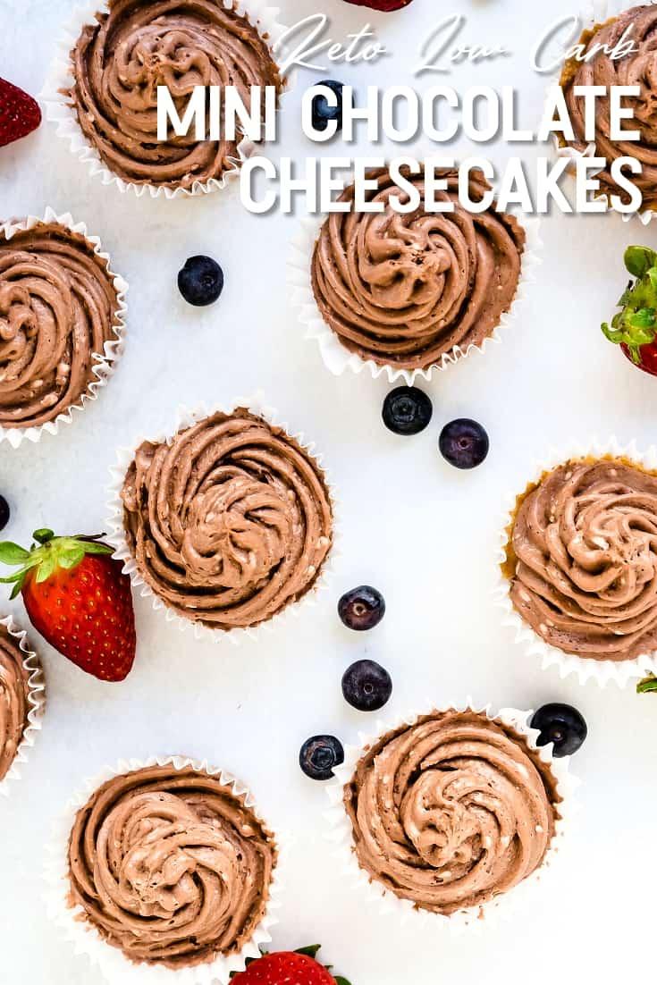 Keto Low Carb Mini Chocolate Cheesecakes