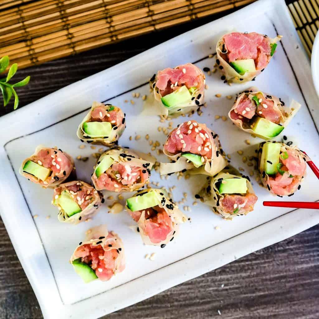 Keto Spicy Tuna Rolls LowCarbingAsian Pic 1