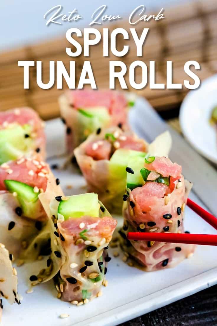 Keto Spicy Tuna Rolls LowCarbingAsian Pin 2