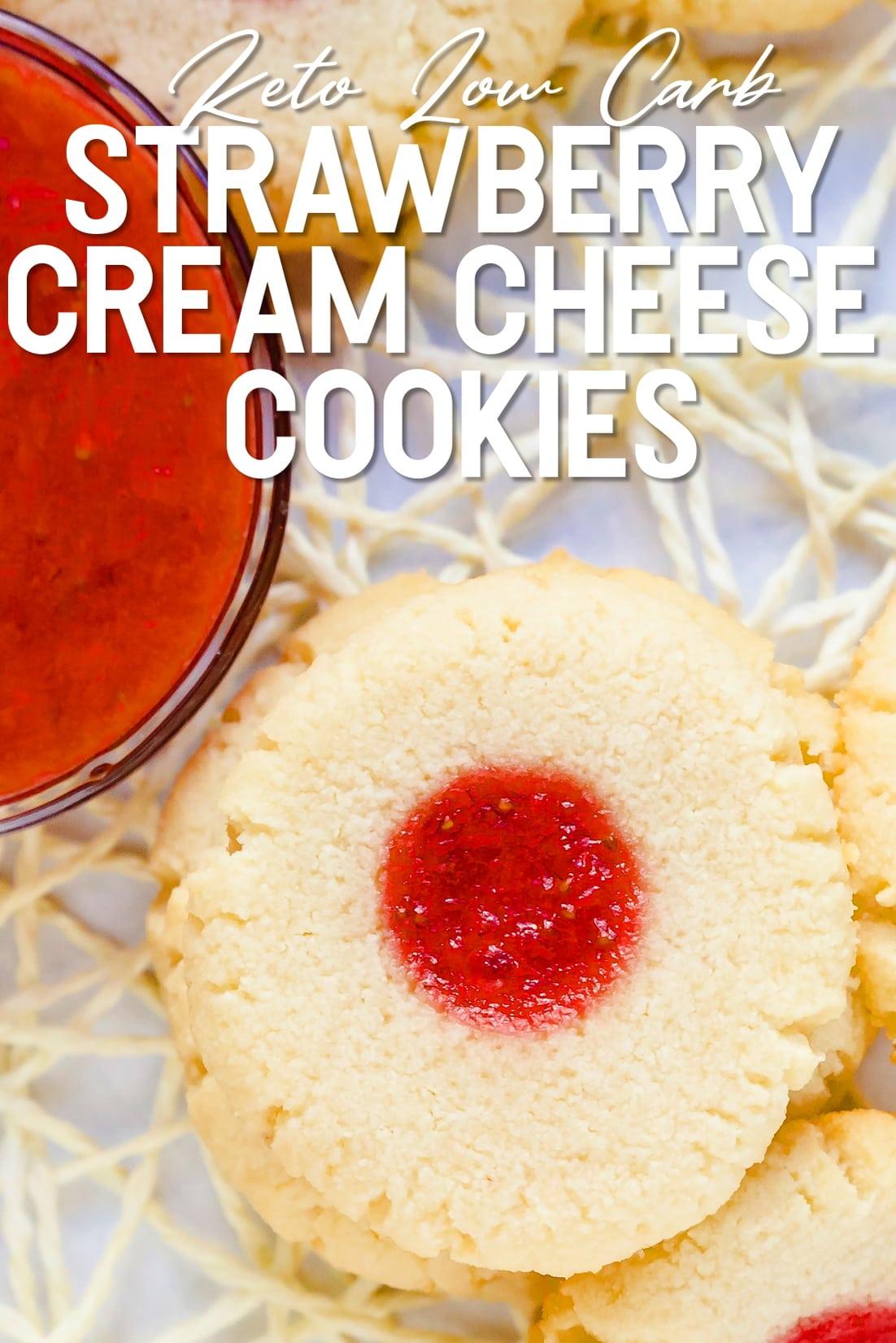 Keto Strawberry Cream Cheese Cookies top down shot