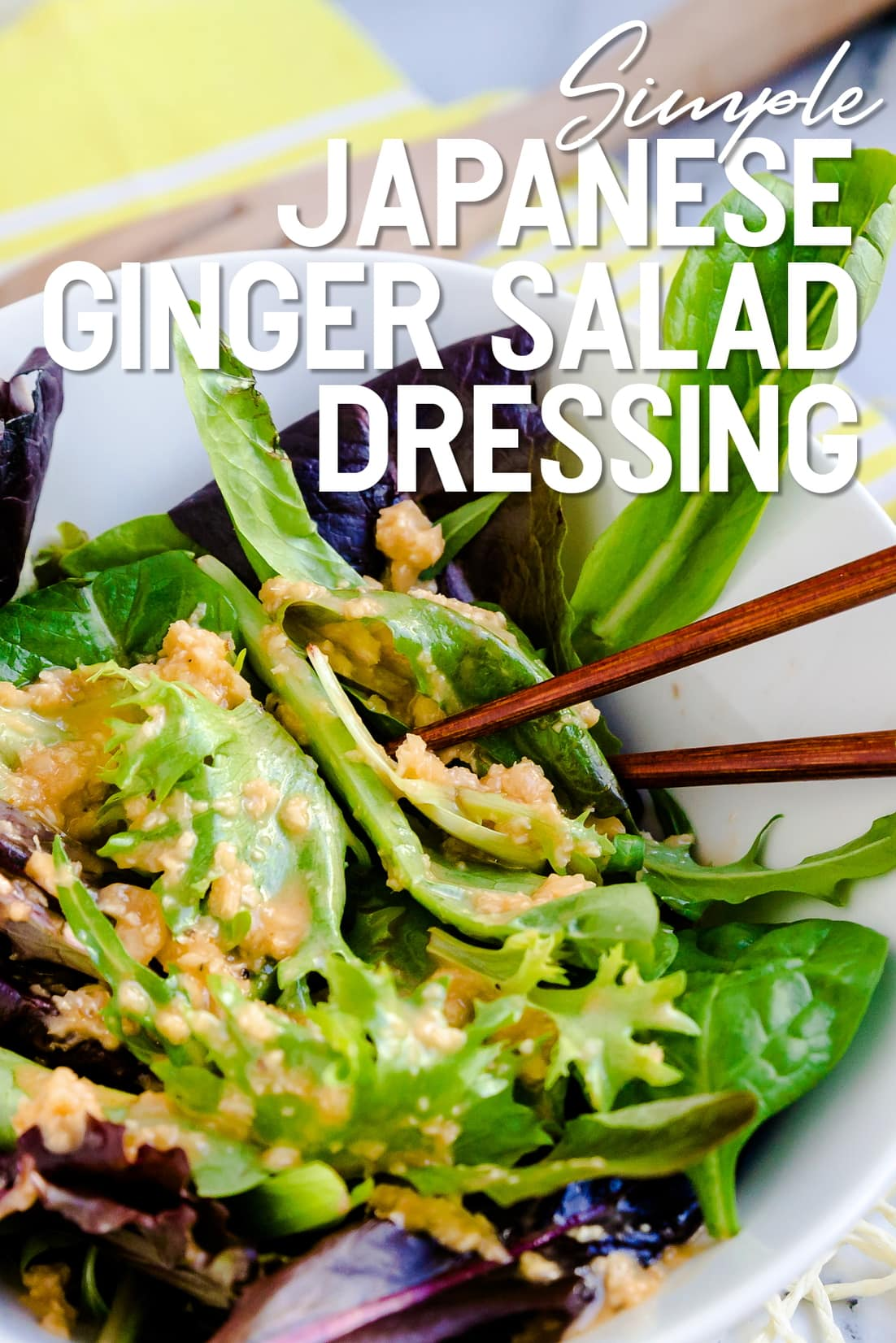 Simple Japanese Ginger Salad Dressing in a bowl with chopsticks