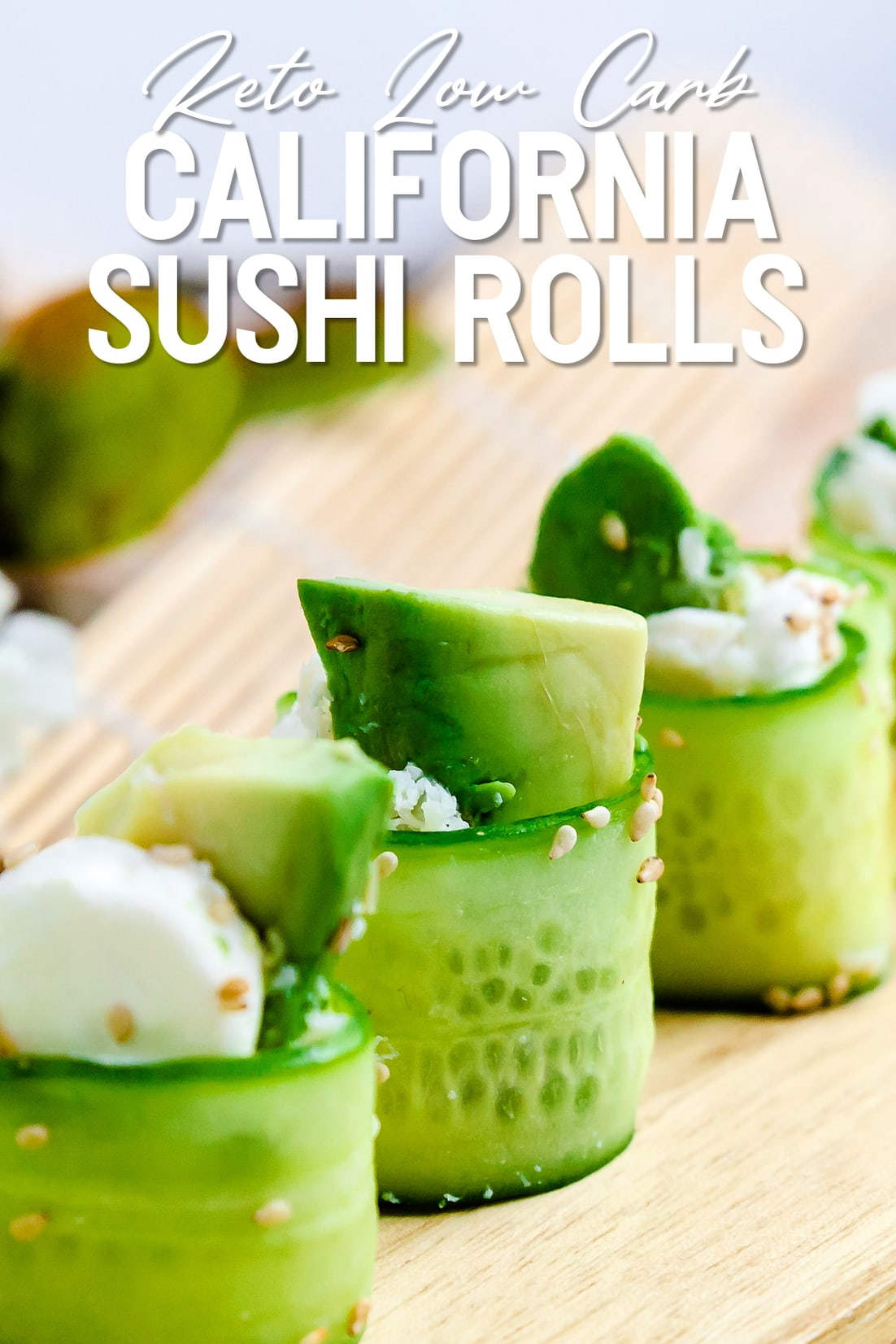 keto California rolls lined up on serving plank