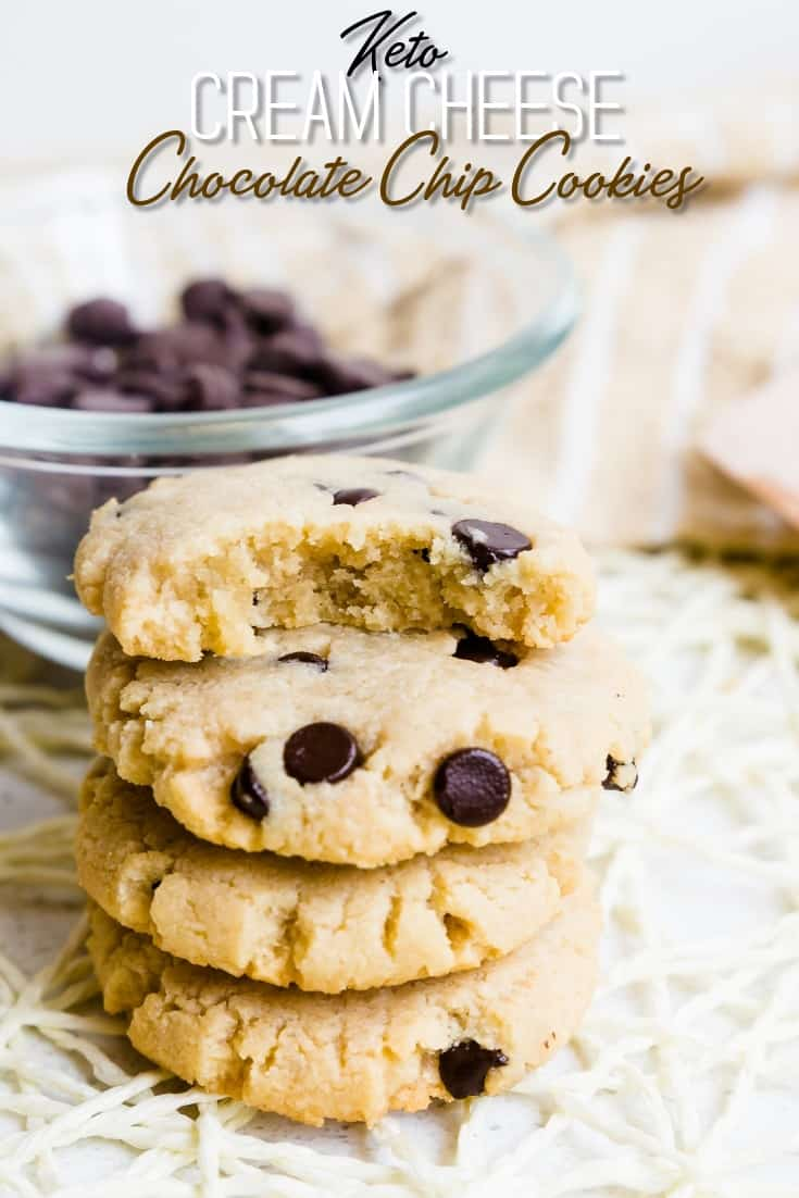 Keto Cream Cheese Chocolate Chip Cookies LowCarbingAsian Pin 1