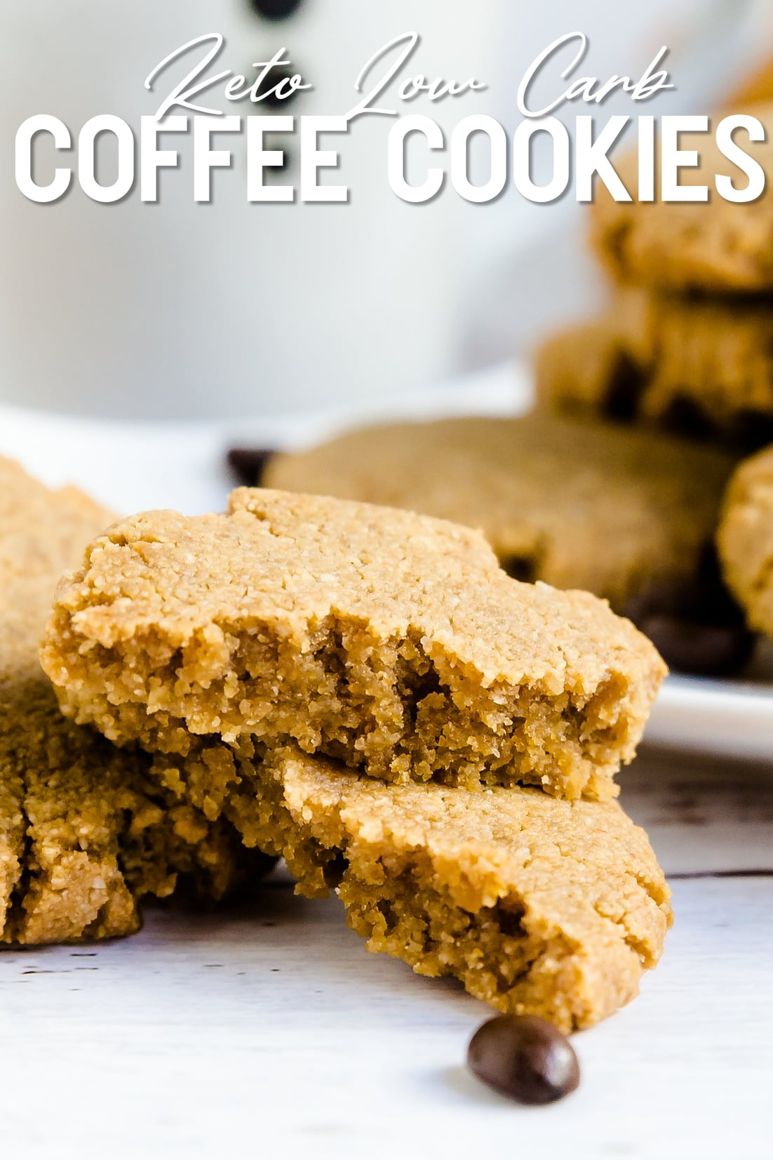 Keto Coffee Cookies stacked together with coffee beans