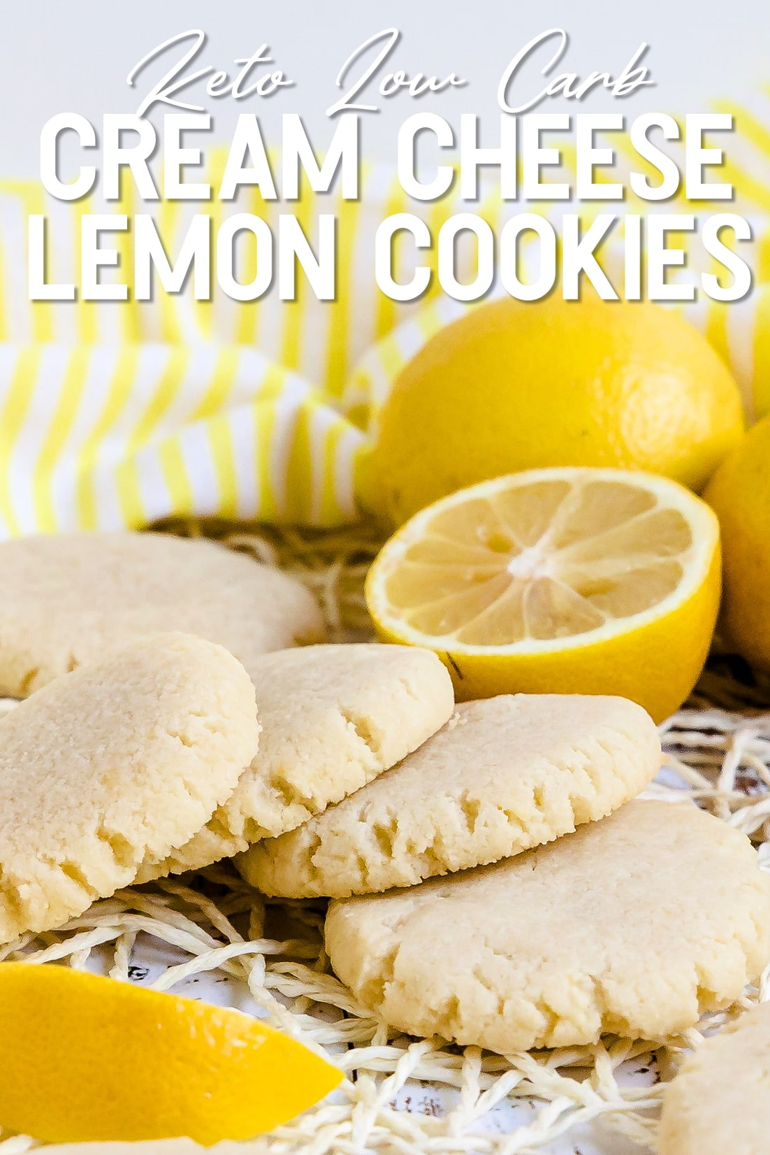 Keto Low Carb Cream Cheese Lemon Cookies Stacked together