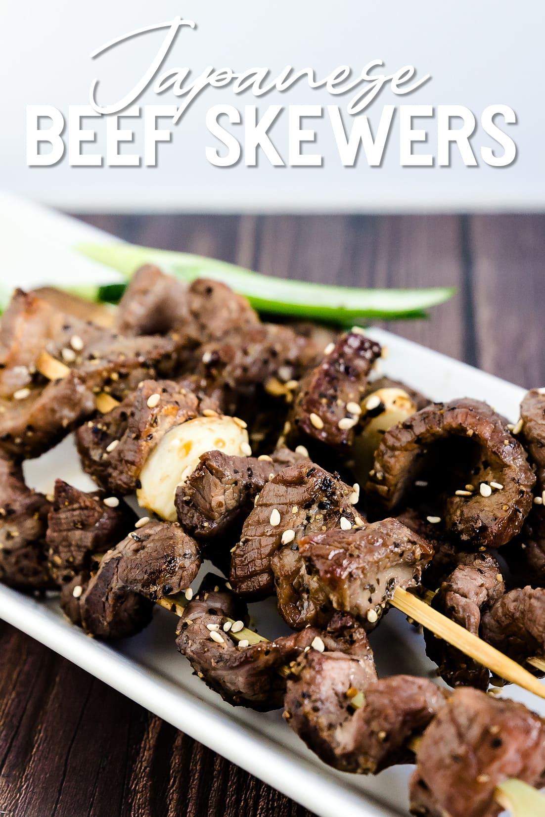 Keto Japanese Beef Skewers on a plate