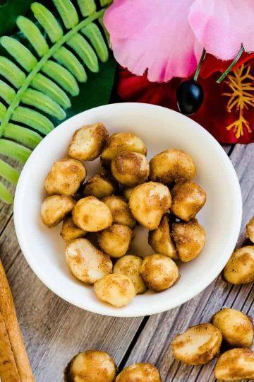 Keto Cinnamon Sugar Glazed Macadamia Nuts LowCarbingAsian Cover