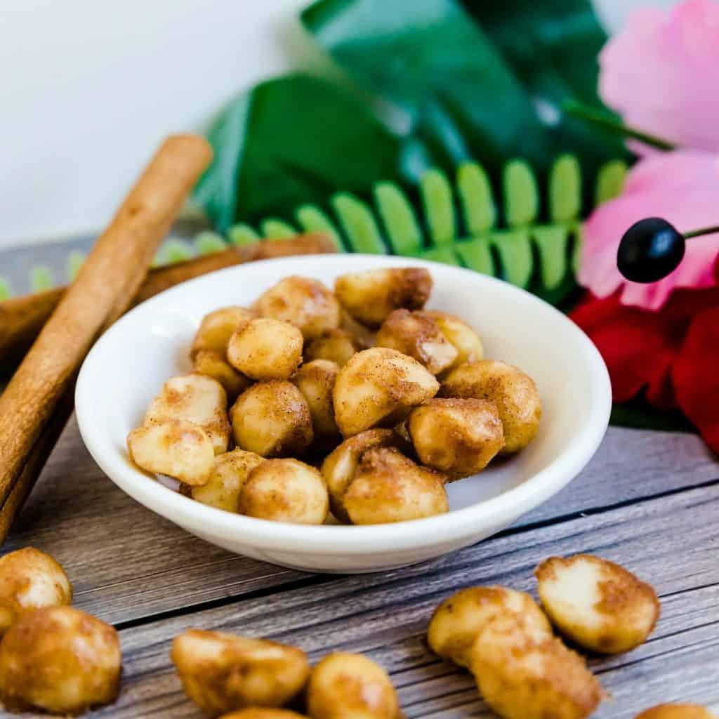 Keto Cinnamon Sugar Glazed Macadamia Nuts LowCarbingAsian Pic 1
