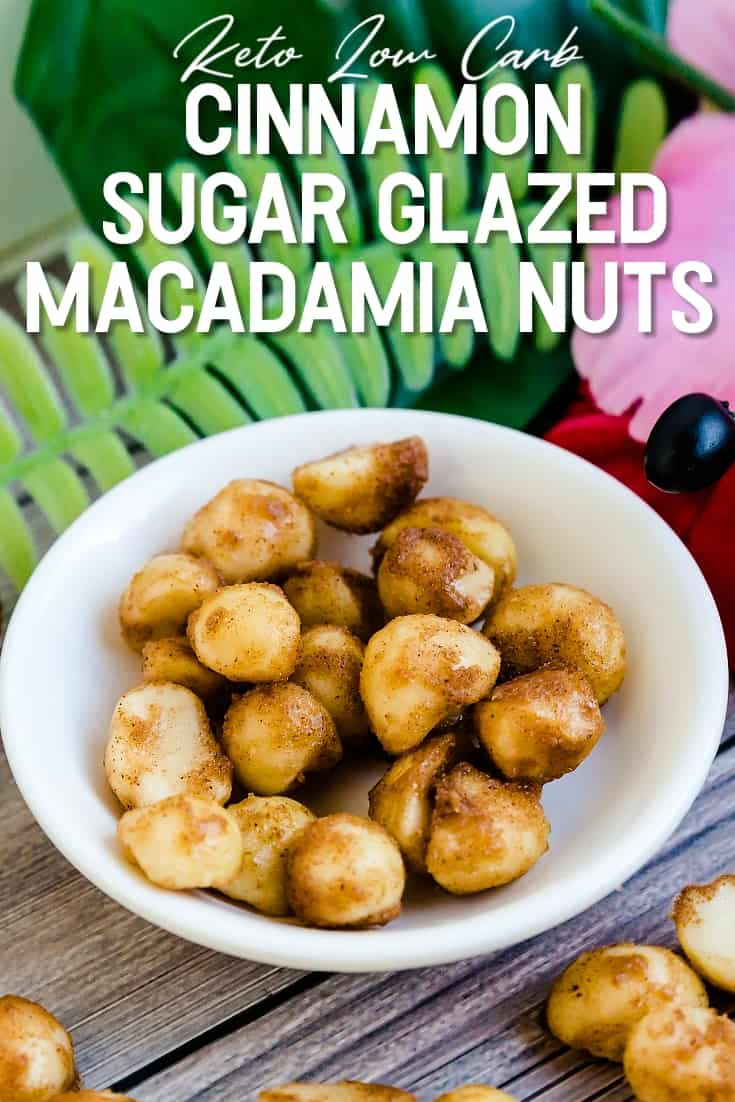 Keto Low Carb Cinnamon Sugar Glazed Macadamia Nuts