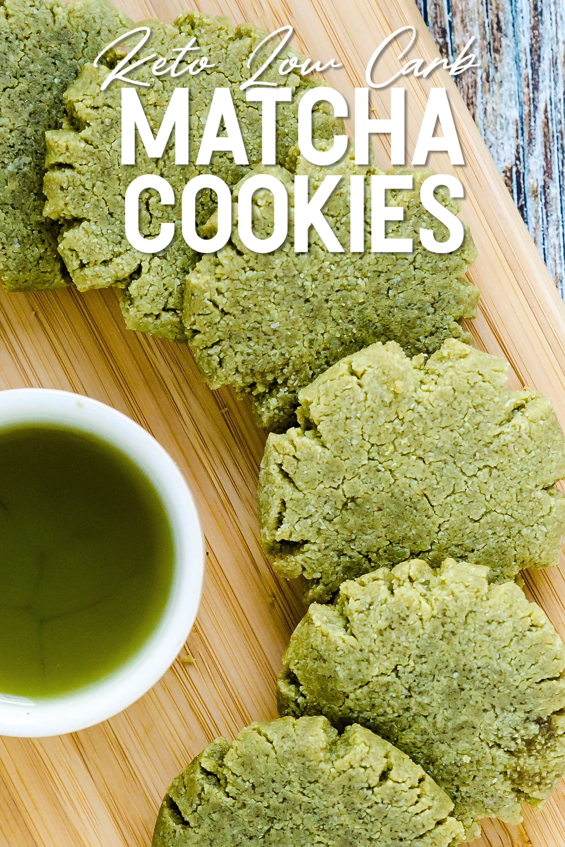 Keto Matcha Cookies lined up on serving plank