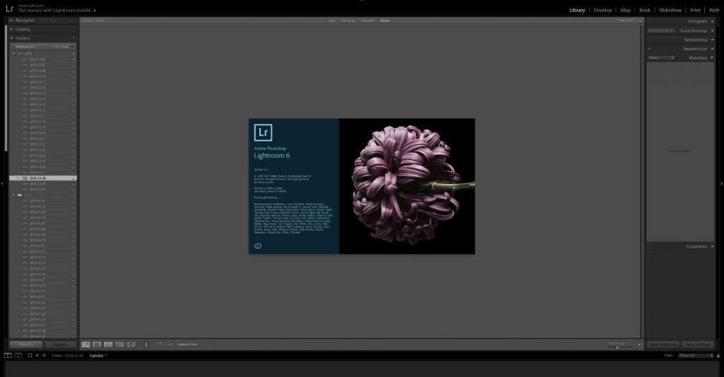 How to take a picture for a website - Main Dashboard in Lightroom