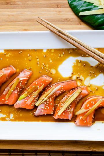 Sesame Ginger Salmon Carpaccio LowCarbingAsian Cover