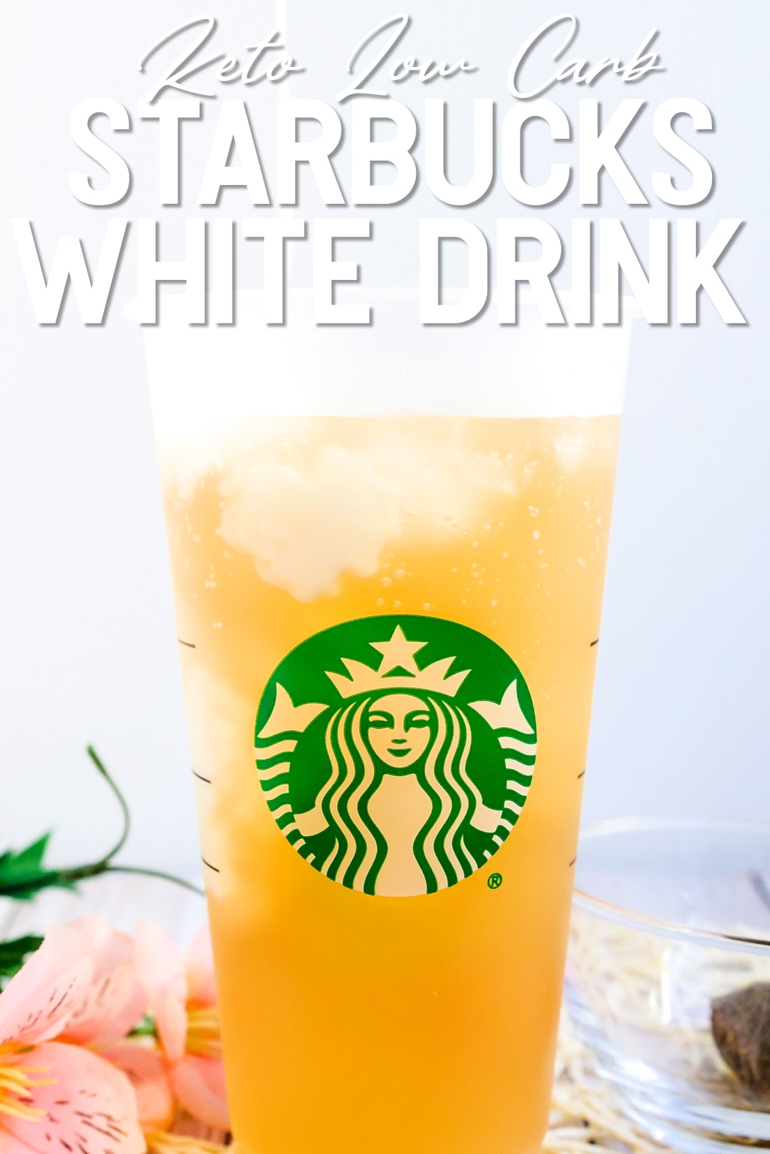 Starbucks Keto White Drink with cream being poured in