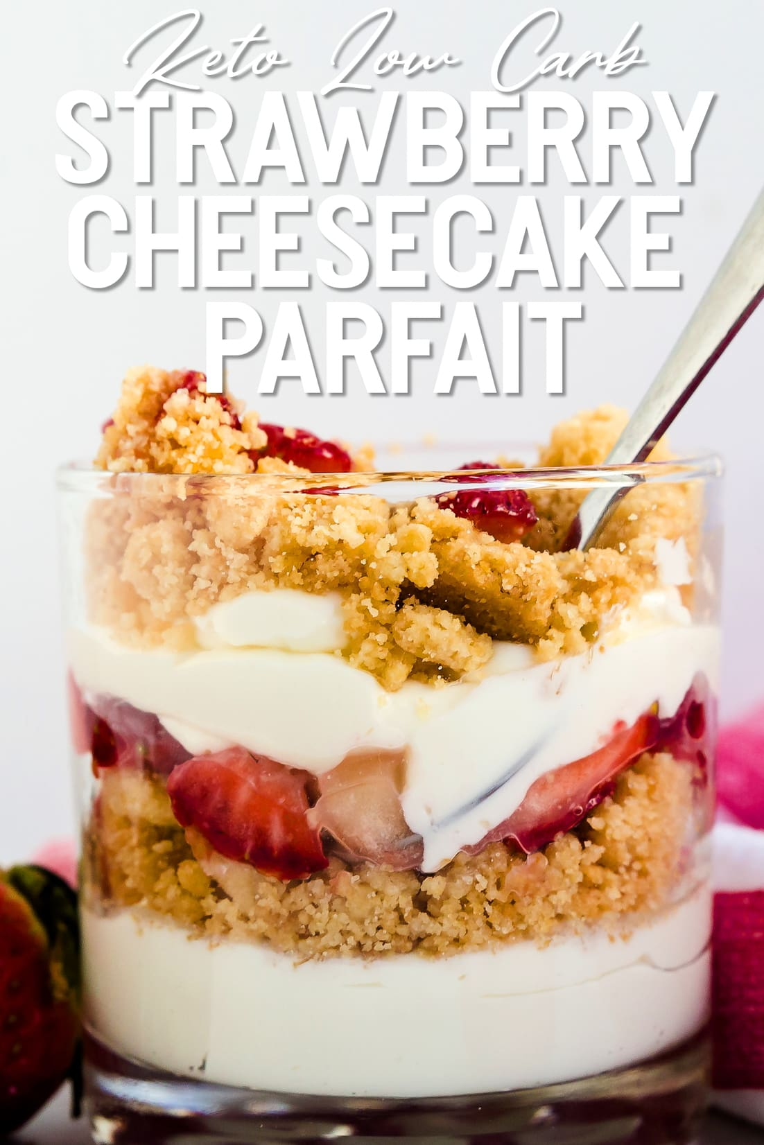 Keto Cheesecake Parfait with a spoon