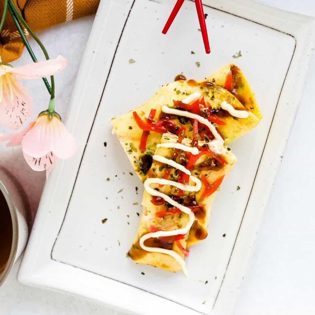 Okonomiyaki Egg Roll Up LowCarbingAsian Pic 1