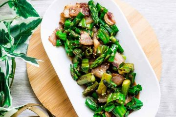 Bacon, Asparagus, Shishito Pepper Stir Fry LowCarbingAsian Cover